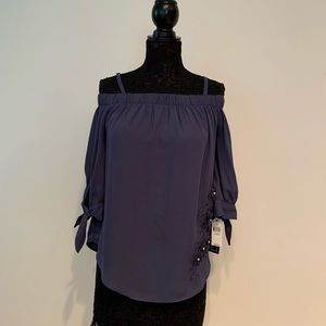 A. Byer Periwinkle Blouse with Flower Detail Sz L
